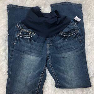 NWT Indigo Blue Maternity Distressed Jeans M